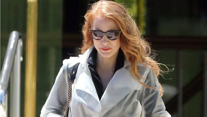 Jessica Chastain wearing TERRA NEW YORK raincoat